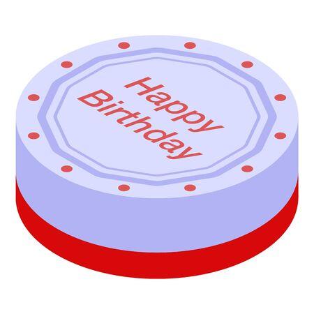 Round birthday cake icon. Isometric of round birthday cake vector icon for web design isolated on white background Çizim