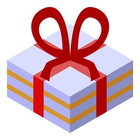 Birthday cake box icon. Isometric of birthday cake box vector icon for web design isolated on white background