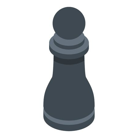 Black pawn icon. Isometric of black pawn vector icon for web design isolated on white background