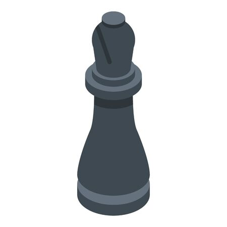 Black chess bishop icon. Isometric of black chess bishop vector icon for web design isolated on white background 일러스트