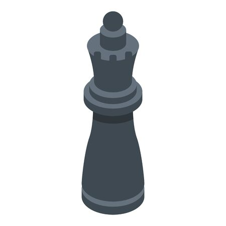 Black queen chess icon. Isometric of black queen chess vector icon for web design isolated on white background