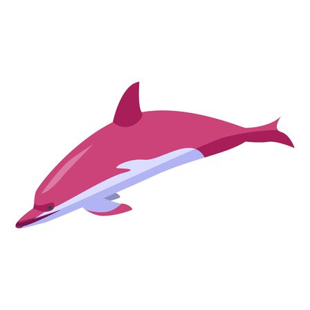 Pink dolphin icon. Isometric of pink dolphin vector icon for web design isolated on white background