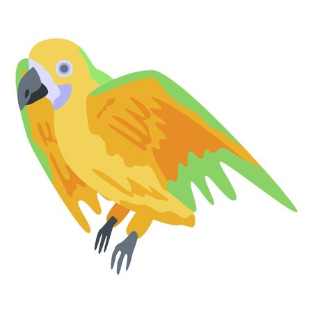 Funny parrot icon. Isometric of funny parrot vector icon for web design isolated on white background