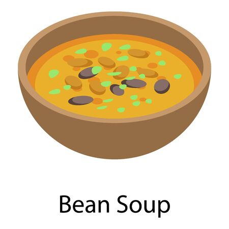 Bean soup icon, isometric style