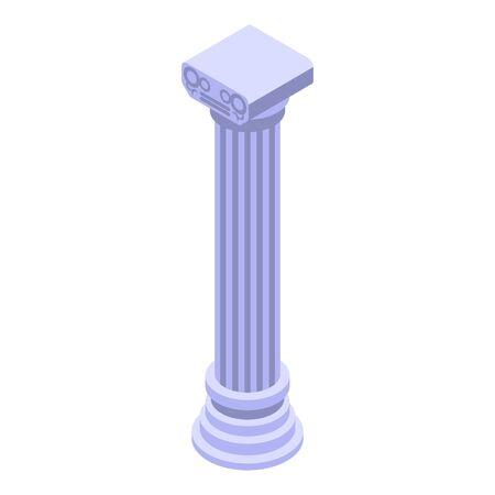 Roman column icon, isometric style