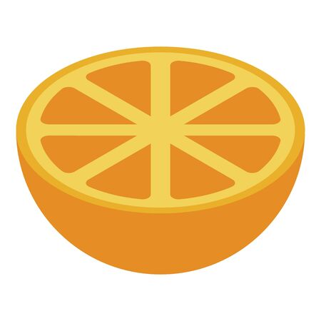 Half orange icon. Isometric of half orange vector icon for web design isolated on white background