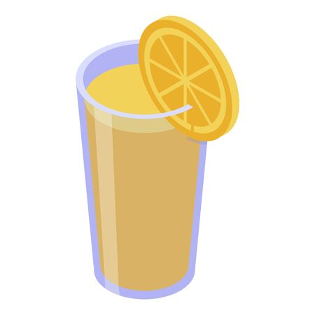 Lemonade glass icon. Isometric of lemonade glass vector icon for web design isolated on white background  イラスト・ベクター素材