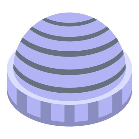 Striped winter headwear icon. Isometric of striped winter headwear vector icon for web design isolated on white background