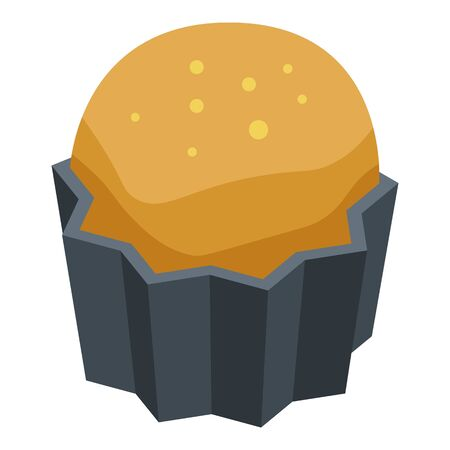 Persimmon cupcake icon, isometric style