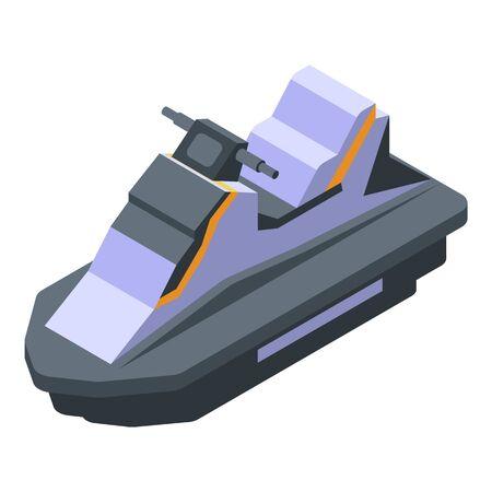 Sea jet ski icon. Isometric of sea jet ski vector icon for web design isolated on white background