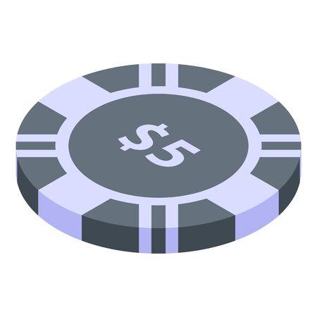 Five dollars casino chip icon, isometric style Ilustração