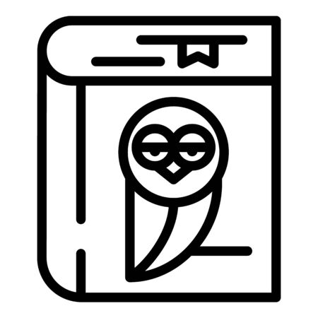 Notepad with owl icon, outline style