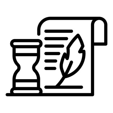 Hourglass and parchment icon, outline style