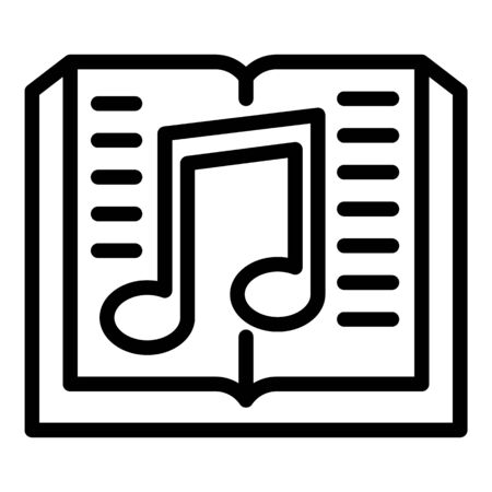 Book and musical note icon, outline style