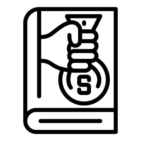 Finance book icon, outline style