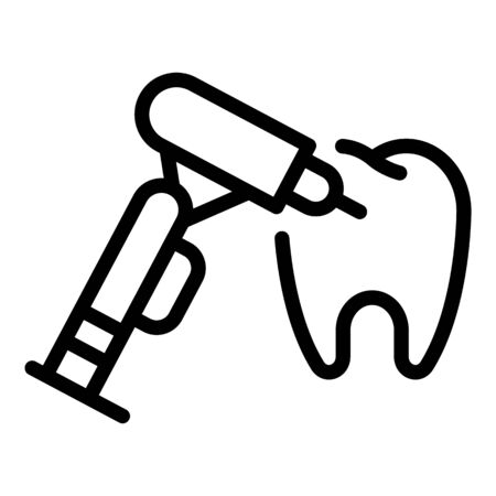 Dentist drills a tooth icon. Outline dentist drills a tooth vector icon for web design isolated on white background Vettoriali