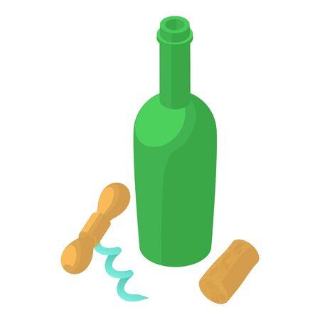 Uncorked bottle icon, isometric style Illusztráció