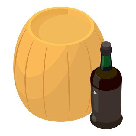 Winemaking icon, isometric style