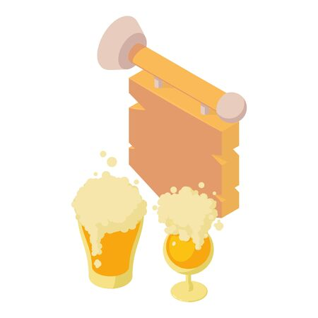 Beer party icon, isometric style