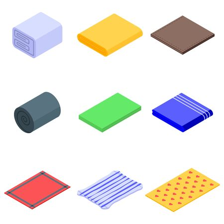 Blanket icons set, isometric style