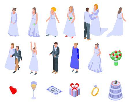 Bride icons set, isometric style Vetores