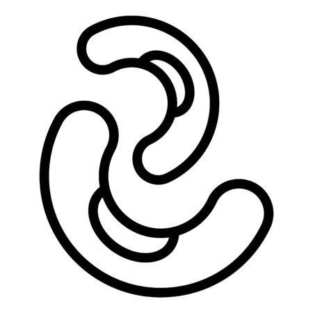 Kidney bean icon, outline style 向量圖像
