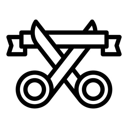 Scissors cut ribbon icon, outline style