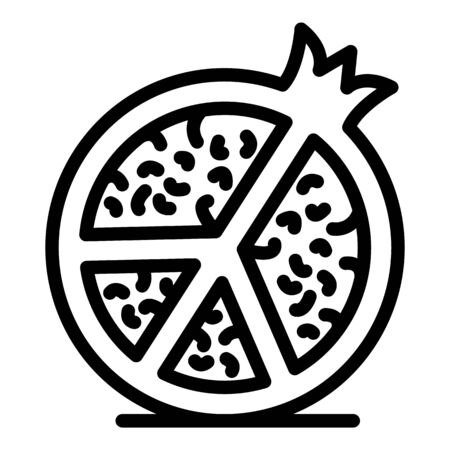 Half pomegranate icon, outline style