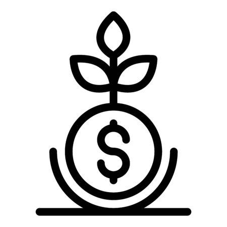 Icône d'usine d'affaires d'argent, style de contour Vecteurs