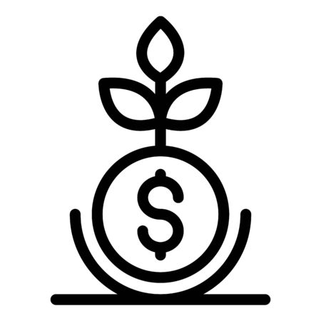 Money business plant icon, outline style Vetores
