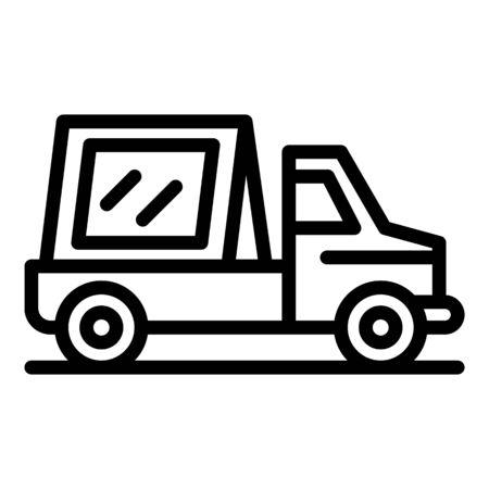 Window installation truck icon. Outline window installation truck vector icon for web design isolated on white background