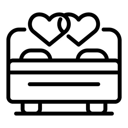 Wedding couple love night icon, outline style