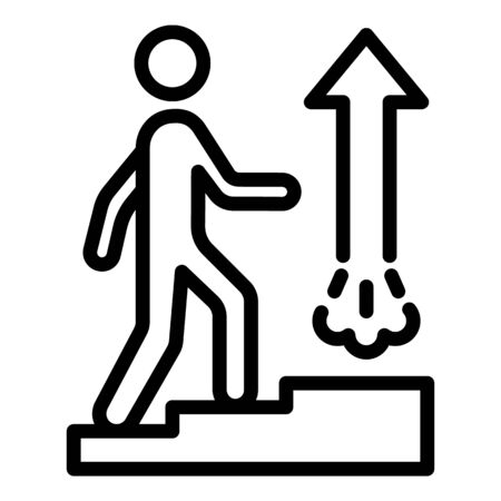 Goal up stairs icon, outline style