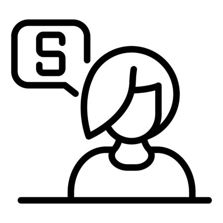 Loan manager icon, outline style Illustration