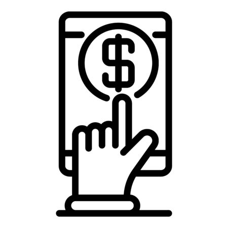 Touch money loan icon. Outline touch money loan vector icon for web design isolated on white background