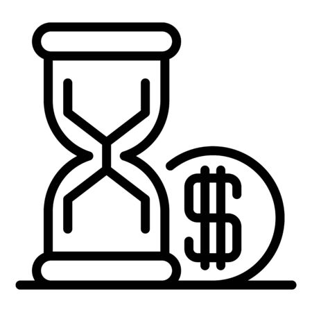 Hourglass money loan icon. Outline hourglass money loan vector icon for web design isolated on white background