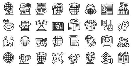 Translator icons set, outline style