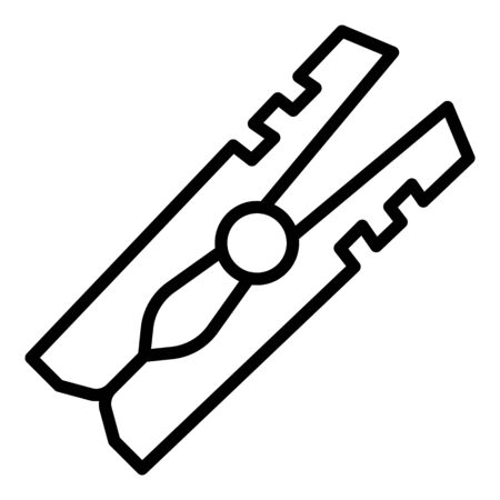Clothes pins icon. Outline clothes pins vector icon for web design isolated on white background