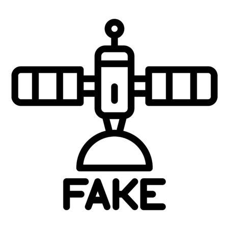 Fake news space satellite icon, outline style Ilustración de vector