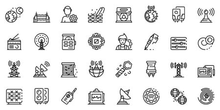 Radio engineer icons set, outline style