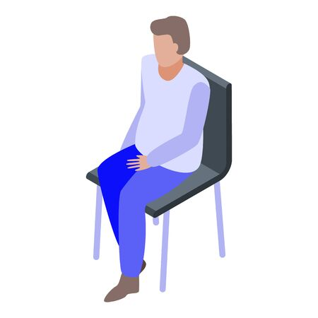Man stay at chair icon, isometric style