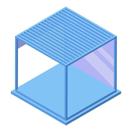 Modern glass gazebo icon, isometric style