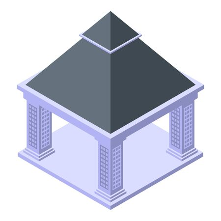 Stone gazebo icon, isometric style