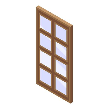 Wood window icon. Isometric of wood window vector icon for web design isolated on white background