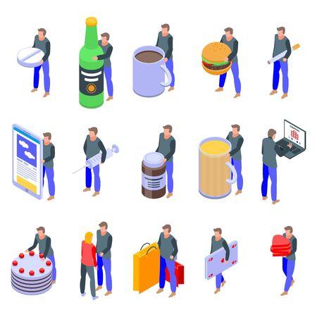 Addiction icons set, isometric style 일러스트