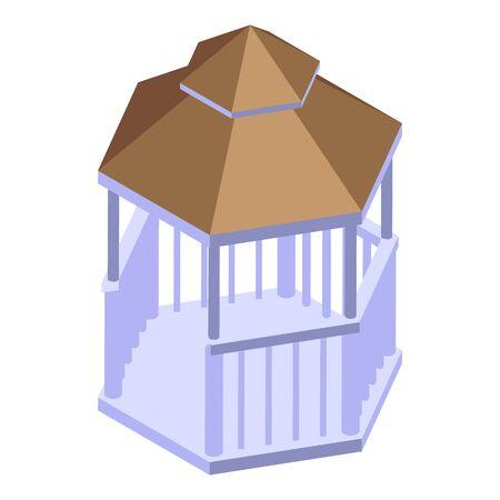 White wood gazebo icon. Isometric of white wood gazebo vector icon for web design isolated on white background Illustration