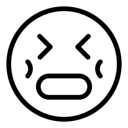 Stress emoji icon, outline style Stock Illustratie
