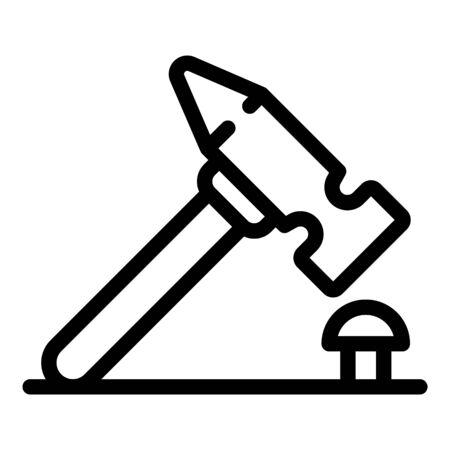 Hammer nail icon, outline style
