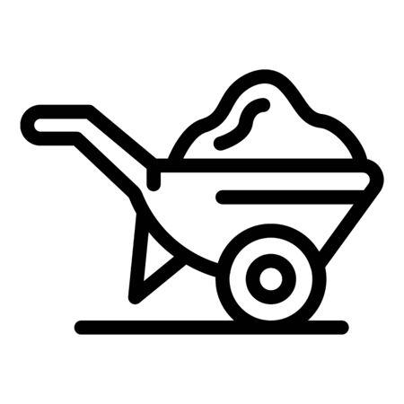Construction wheelbarrow icon, outline style