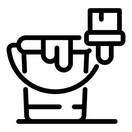 Paint bucket icon, outline style Ilustracja